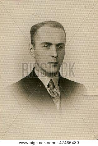 CZESTOCHOWA, POLAND, CIRCA 1934- vintage photo of man, Czestochowa, Poland, circa 1934