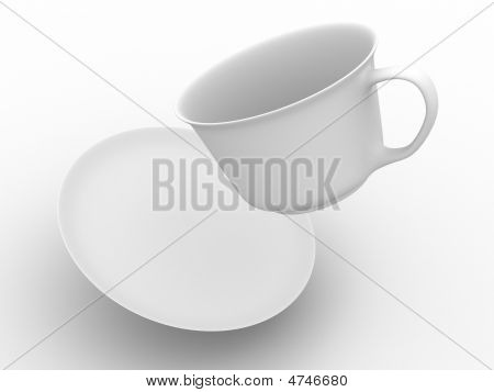 Falling Coffee Cup With Saucer. Isolated 3D Image