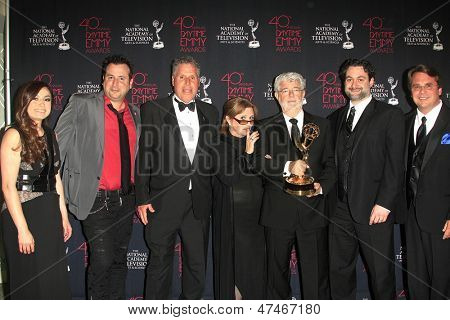 BEVERLY HILLS - JUN 16: Athena Portillo,Gabriel Gornell,Malachy Wienges,Carrie Fisher,George Lucas,Dave Filoni,Cary Silver at the 40th Annual Daytime Emmy Awards on June 16, 2013 in Beverly Hills, CA