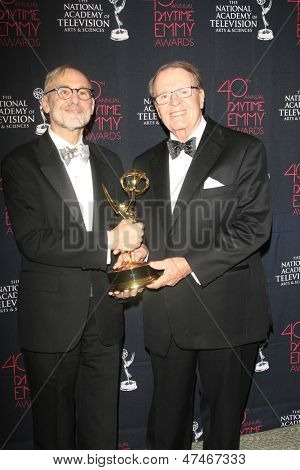 BEVERLY HILLS - JUN 16: Rand Morrison, Charles Osgood with the Outstanding Morning Program award for 'CBS Sunday Morning' at the 40th Annual Daytime Emmy Awards on June 16, 2013 in Beverly Hills, CA