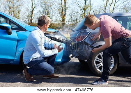 Two Drivers Arguing After Traffic Collision