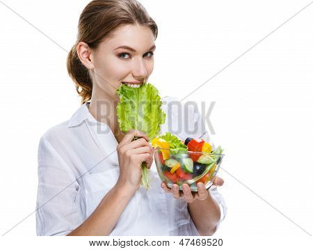 splendid european woman & vegetable salad - isolated on white background