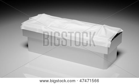 Corpse under white sheet on autopsy table