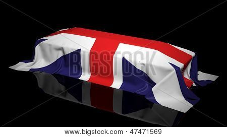 Coffin covered with the flag of UK