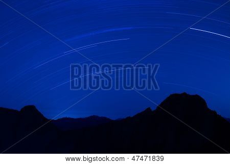 Star Trails with silhouette of mountain Yushan in the night, Taiwan, Asia. Mt Jade is the highest mountain in Taiwan and belong Yushan National park.