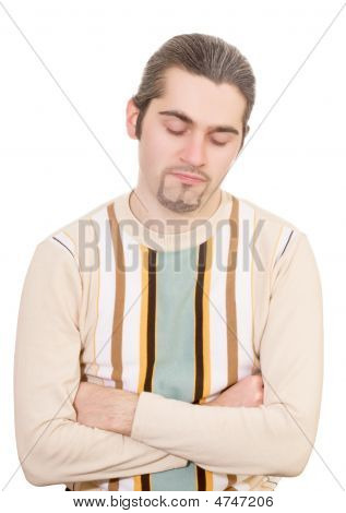 Disappointed Young Handsome Man In Sweater Isolated
