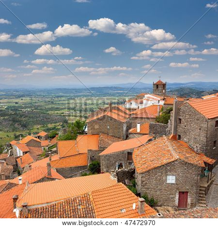 Aerial view of old european village / Monsanto / Portugal