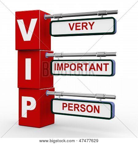 3D Modern Signboard Of Vip