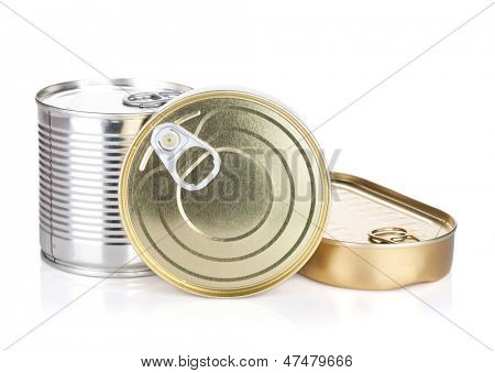 Tin cans. Isolated on white background