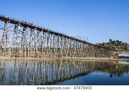 Wooden Bridge At Sangkhlaburi, Thailand