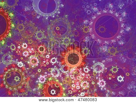 Cheerful bright multicolored abstraction on a purple background