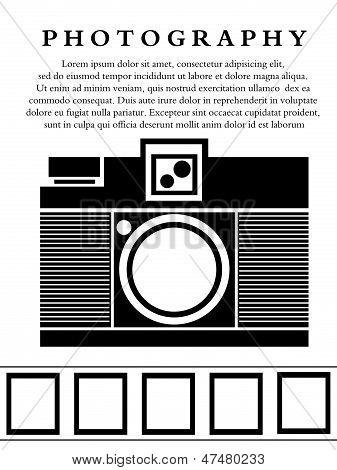 2D Monochrome Lomo Analog Camera Background Concept