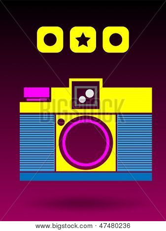 2D Multi Color Lomo Analog Camera Background Concept