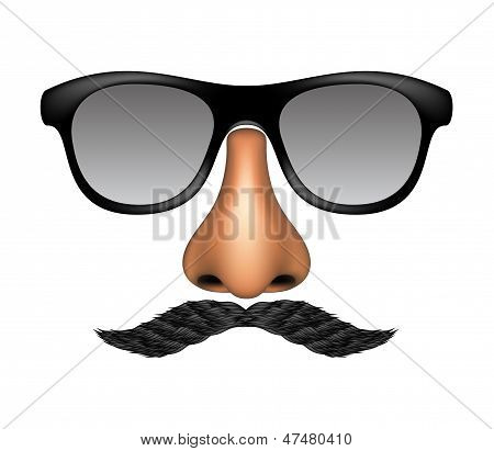 Funny mask made of glasses, mustache and nose