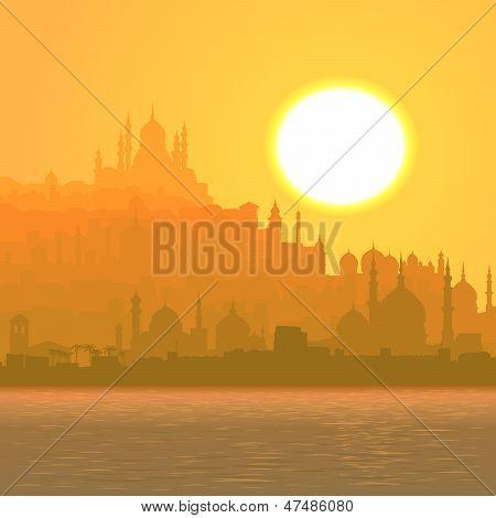Illustration Of Big Arab City By Sea At Sunset.
