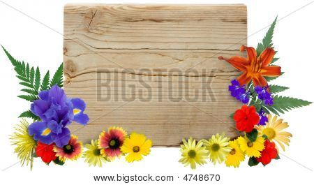 Wood Sign & Flowers