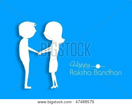 White silhouette of sister tying Rakhi on her brother's wrist on the occasion of Indian festival Rakshabandhan.
