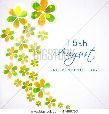 Indian Independence Day background with flowers in national flag tricolors.