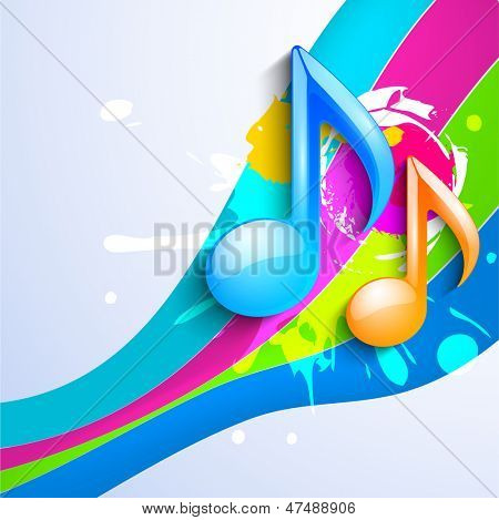 Glossy musical notes on colorful wave background.