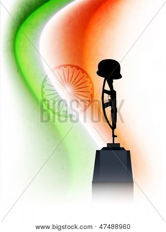 Indian Independence Day concept with Amar Jawan Jyoti on national flag tricolors wave.