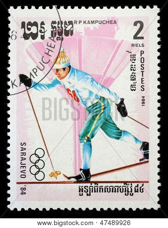 KAMPUCHEA-CIRCA 1984: A stamp printed in the Kampuchea, is dedicated to Winter Games in Sarajevo, circa 1984