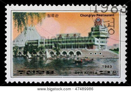 KOREA - CIRCA 1983: A stamp printed in Korea shows Chongryu Restaurant in Pyongyang, circa 1983