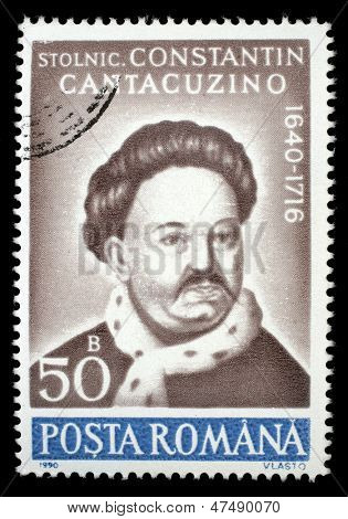 ROMANIA - CIRCA 1990: A stamp printed in Romania, shows portrait of Constantin Cantacuzino, 1640 - 1716, (chronicler), with the same inscription, from the series Anniversaries , circa 1990
