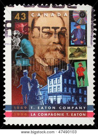 CANADA - CIRCA 1994: stamp printed by Canada, shows T. Eaton Company, 125th Anniv., circa 1994