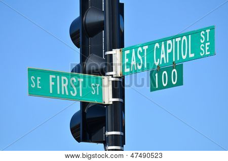 Washington DC - East Capitol Street and First Street junction street sign