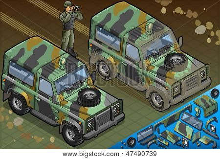 Isometric Military Car With Soldier In Front View