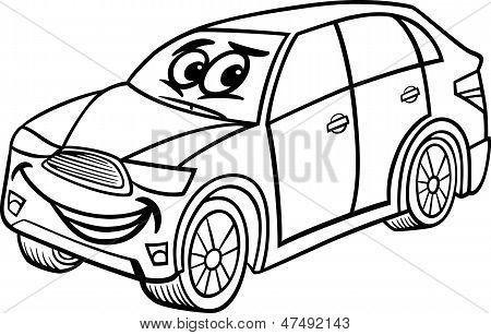 Suv Car Cartoon Coloring Page