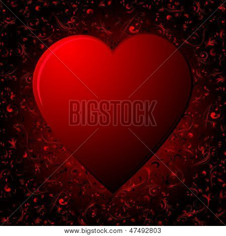 The Heart on red background