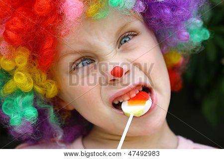 Crazy Clown Child With Lollipop