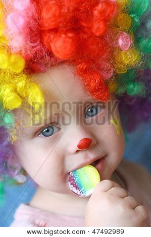 Clown Baby With Sucker
