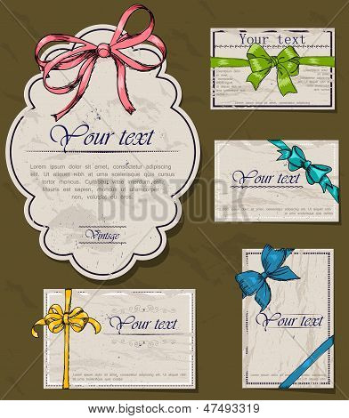 Set of vintage gift bows.