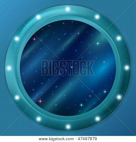 Window with stars and nebulas
