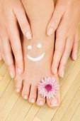 stock photo of toe nail  - Care for beautiful woman legs - JPG