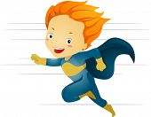 Illustration of a Little Kid Boy Superhero Running in Fast Speed