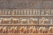 pic of vijayanagara  - Wall with a carved relief - JPG