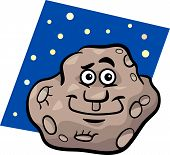 Funny Asteroid Cartoon Illustration