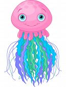 stock photo of jellyfish  - Illustration of cute cartoon jellyfish - JPG
