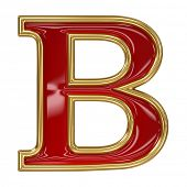 image of letter b  - Ruby red with golden outline alphabet letter symbol  - JPG