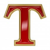 foto of letter t  - Ruby red with golden outline alphabet letter symbol  - JPG