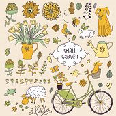 Romantic garden set with a lot of elements: bicycle, dog, plants, sheep, birds, rabbit, watering can