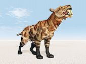 stock photo of saber tooth tiger  - Computer generated 3D illustration with the Smilodon - JPG