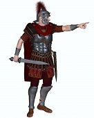 picture of transverse  - Centurion of the Imperial Roman legionary army wearing a transverse crested helmet and carrying a gladius or short sword ordering troops to attack - JPG