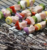 foto of kababs  - Ham Kababs Cooking On The Grill - JPG