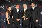 BEVERLY HILLS - JUN 16: Athena Portillo, Cary Silver, George Lucas, Dave Filoni at the 40th Annual D