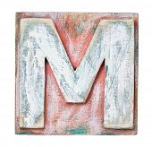 image of letter m  - Wooden alphabet block - JPG