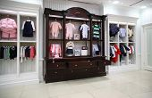 stock photo of department store  - Interior of modern Babyish clothing department empty hall - JPG